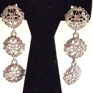 Vintage Triple Filigree Medallions Clip Earrings